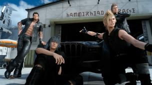 Final Fantasy XV Selfie Hammerhead Noctis Prompto Gladio Ignis