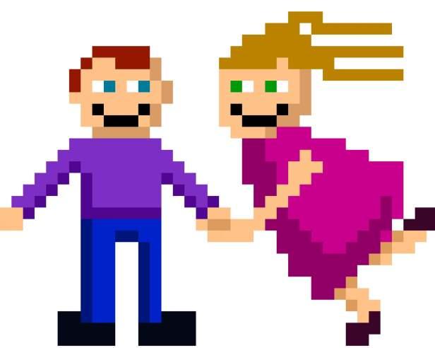 pixel art couple nerdy gaming
